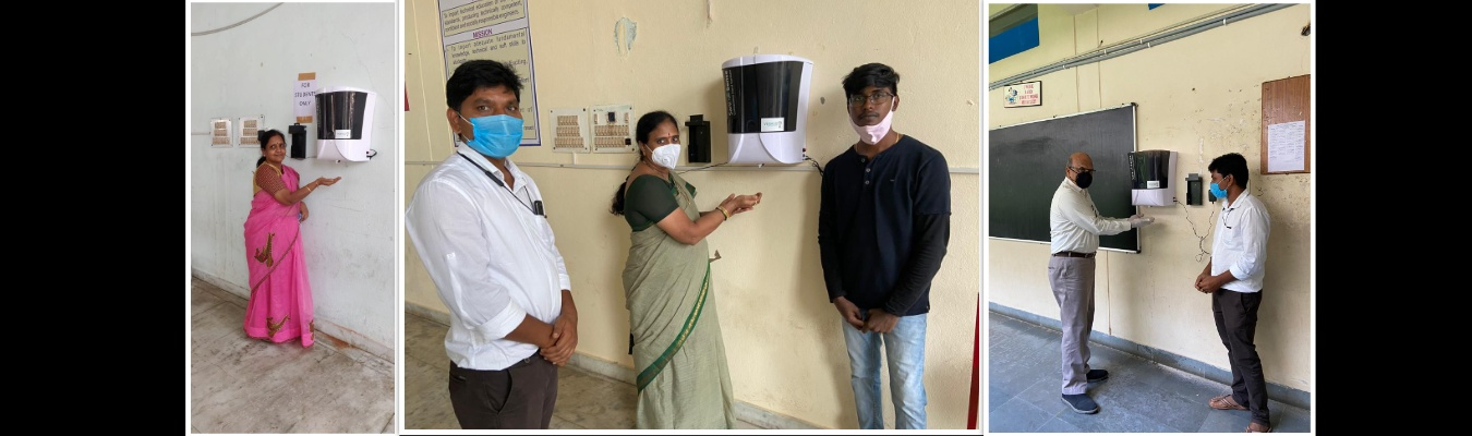 Automatic Non-Contact Sanitization Machines Installed in each block of MVSREC Design and developed By, Mr. Abhinav Kumar Alumni MED, MVSREC