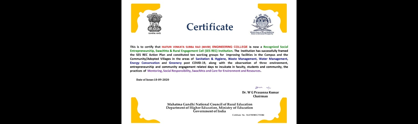 MVSREC is now a Recognized SES REC Institution Social Entrepreneurship, Swachhta & Rural Engagement Cell (SES REC)